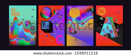 Abstract liquid and geometric colorful background poster and cover design. Blue, yellow, red, orange, pink and green. Vector alphabet poster template in Eps10. #1048911218