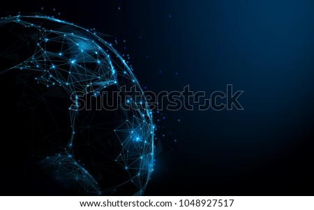Abstract Soccer ball from lines and triangles, point connecting network on blue background. Illustration vector #1048927517