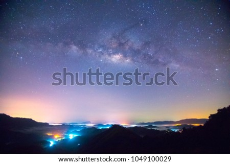 Clearly milky way galaxy on night sky, Milky way galaxy with stars and morning light #1049100029