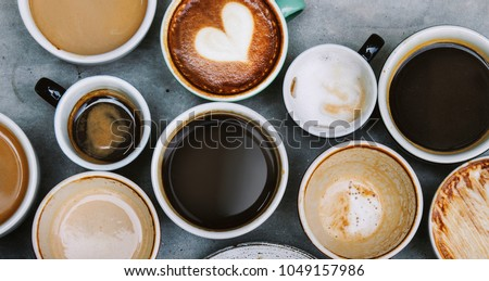 Aerial view of various coffee #1049157986