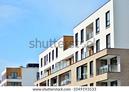 Detail of a new modern apartment building #1049193533