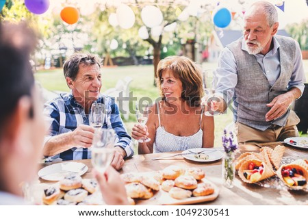 Family celebration or a garden party outside in the backyard. #1049230541