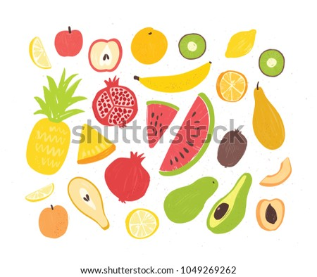 Set of tasty ripe juicy exotic tropical fruits, whole and cut into slices - pineapple, pomegranate, watermelon, banana, apricot, orange, coconut, pear, peach. Vector illustration in doodle style. #1049269262