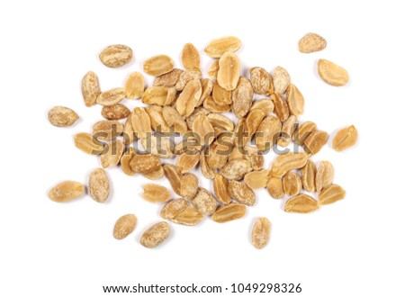 Salted and marinated peanuts, pile isolated on white, top view #1049298326