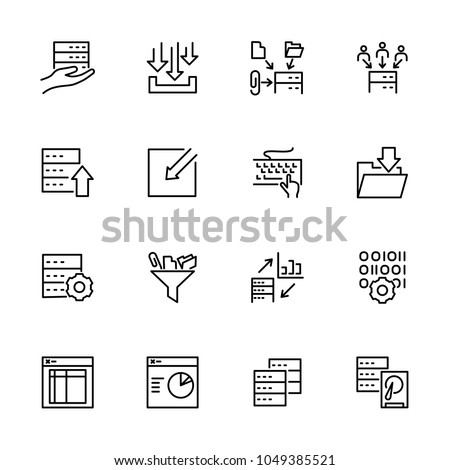 Set of data processing activity line icon set. Editable stroke vector. Isolated at white.