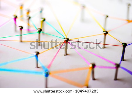 Linking entities. Networking, social media, SNS, internet communication abstract. devices or people connected to a network. Colorful Web of green, blue, red and blue purple wires on white background. #1049407283