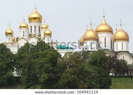 Golden cupolas of Annunciation and Archangel Cathedrals in Mocsow #104941154