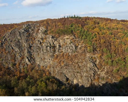Valley Divoka Sarka in Prague, autumn scene. #104942834