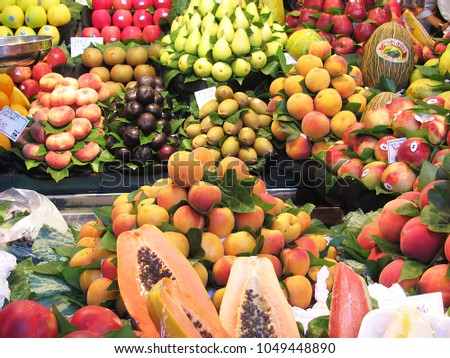 Beautiful colorful fruits in Spain Barcelona marketplace                          #1049448890