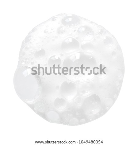 White facial foam creamy bubble soap sponge isolated on white background Royalty-Free Stock Photo #1049480054