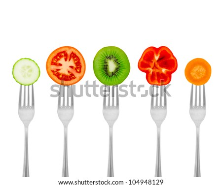 Diet concept nutrition, organic food. Healthy meal for weight dump. Diet concept nutrition, organic food. Fruits and vegetables on forks. #104948129