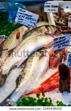 London / United Kingdom - 20/01/2018: Fish stand in Borough Market, Southwark, London, England, United Kingdom, Europe #1049498450