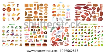 All food set. Meat and vegetables, fruits and fast food, fish and sweets.