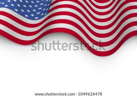 Wavy Flag of United States of America with Shadow. USA Flag Background with white Copy Space. Vector Illustration. #1049626478