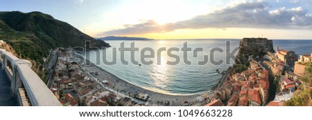 Scilla panoramic aerial view from city terrace, Calabria. #1049663228