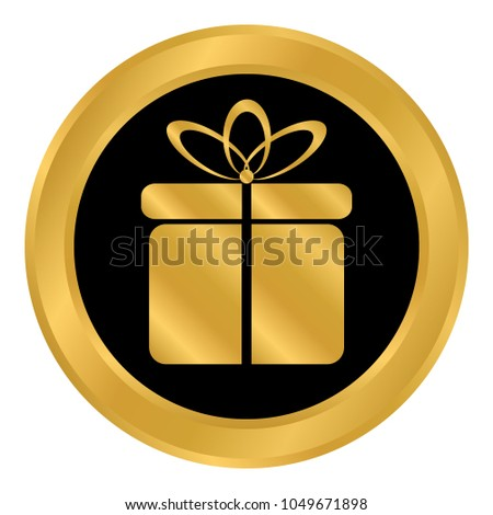 Gift button on white background. Vector illustration. #1049671898
