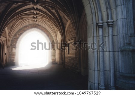 Gothic archway with light illuminating the path. #1049767529