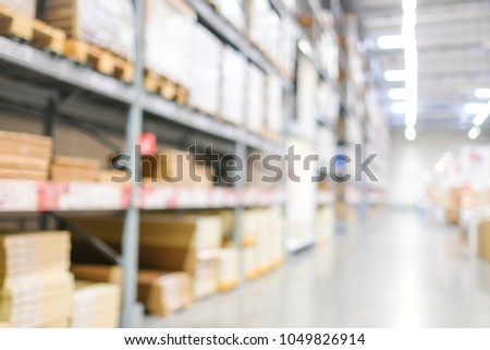 Blurred business background, Blur warehouse with bokeh light background #1049826914