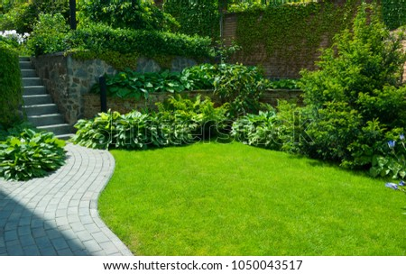 Garden stone path with grass growing up between the stones.Detail of a botanical garden. #1050043517