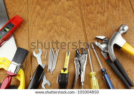 Assorted work tools on wood #105004850