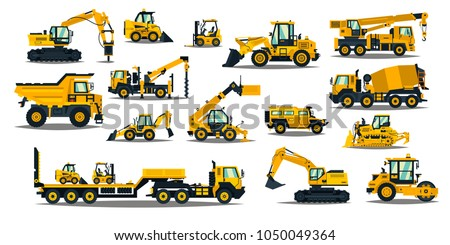 A large set of construction equipment in yellow. Special machines for the building work. Forklifts, cranes, excavators, tractors, bulldozers, trucks, cars, concrete mixer, trailer.Vector illustration Royalty-Free Stock Photo #1050049364