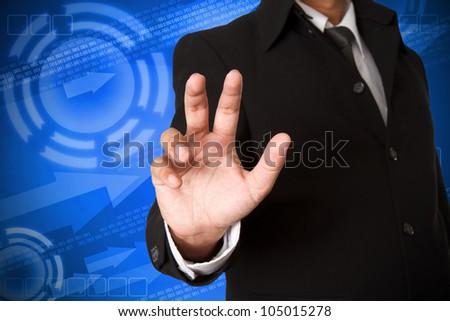 business hand  on digital background #105015278