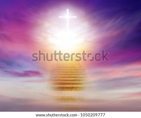 Stairs in sky . Dramatic nature background .  Sunset or sunrise with clouds, light rays and other atmospheric effect . Light from sky . Religion background .  #1050209777
