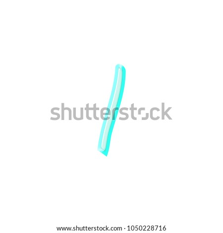 Fun light blue spring or summer letter L (lowercase) in a 3D illustration with a summery soft teal blue color and handwritten font style isolated on a white background with clipping path. #1050228716