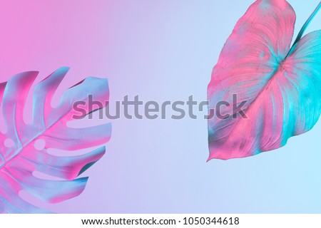 Tropical and palm leaves in vibrant bold gradient holographic neon  colors. Concept art. Minimal surrealism background. #1050344618