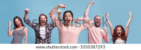 Collage of winning success happy men and women celebrating being a winner. Dynamic image of caucasian male and female models on blue studio background. Victory, delight concept. Human facial emotions Royalty-Free Stock Photo #1050387293