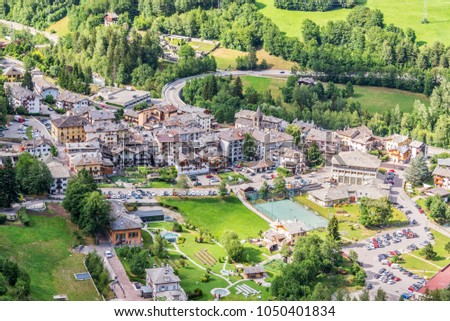 Aerial view of Pre Saint Didier, spa resort in Aosta Valley, Italy #1050401834