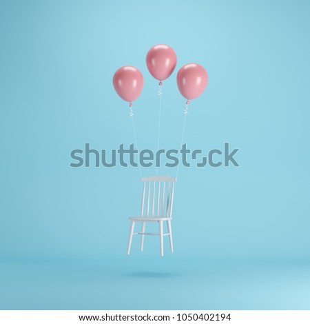 Floating Chair with pink balloons on blue background. minimal idea concept.