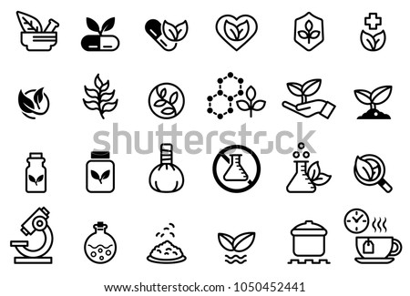 Herb medicine icon concept. Treatment with natural extracts. Plant products. Research on the invention of pharmaceuticals. Royalty-Free Stock Photo #1050452441