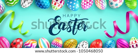 Easter Day web banner background template with Colorful Painted Easter Eggs.Easter eggs with different texture.Vector illustration EPS10 #1050468050