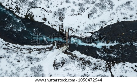 Top view of Buarfoss Waterfall one of amazing landmark in Iceland. Its looks like marble pattern.Abstract concept for graphic designer inspiration #1050472544