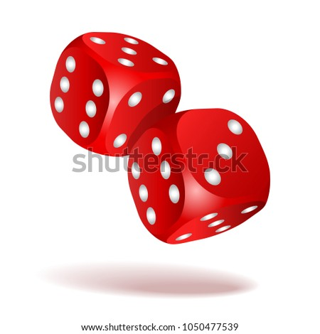 Red dice with white pips. Two red falling dice isolated on white. Casino gambling template concept. #1050477539