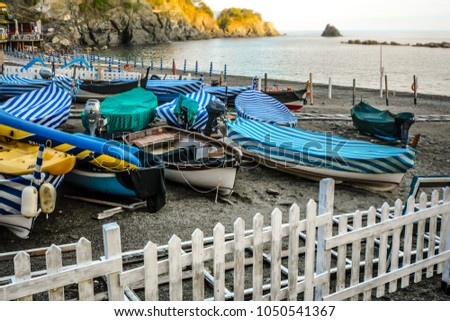 Small harbor in the Italian village of Monterosso Al Mare, on the Ligurian coast at Cinque Terre Italy with boats on a sandy beach #1050541367