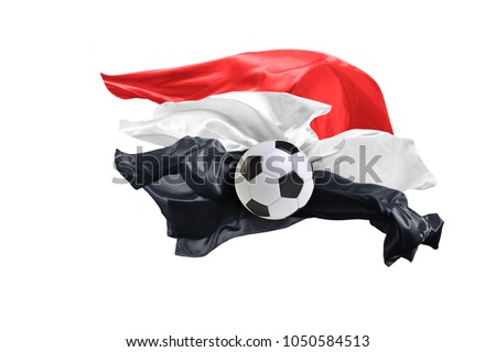 The national flag of Egypt. Flag made of fabric. Football and soccer concept. Fans concept. Soccer ball with fabric. Isolated on white background. Flying flag. #1050584513