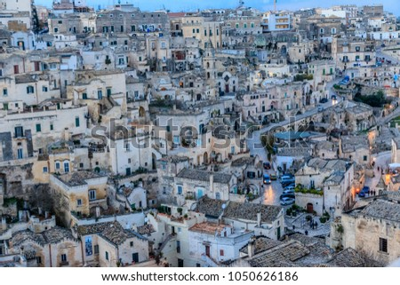 Italy, Southern Italy, Region of Basilicata, Province of Matera, Matera. Small cobblestone streets and stairways of the town. Overview. #1050626186