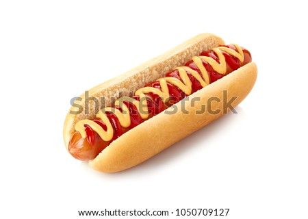 Hot dog with ketchup and mustard on white Royalty-Free Stock Photo #1050709127