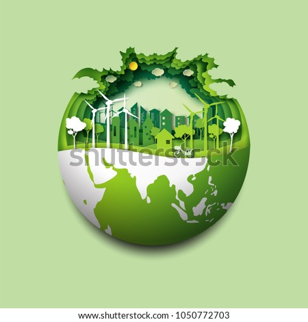 Green earth of eco friendly city and urban forest landscape abstract background.Renewable energy for ecology and environment conservation concept paper art design.Vector illustration. Royalty-Free Stock Photo #1050772703