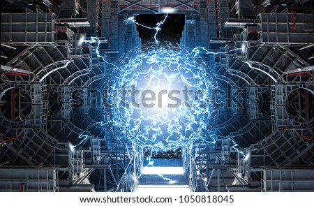 Conceptual high tech power plant thermonuclear or nuclear reactor, including elements of fusion space stations, electricity production, microwave components.Elements of this image furnished by NASA. Royalty-Free Stock Photo #1050818045