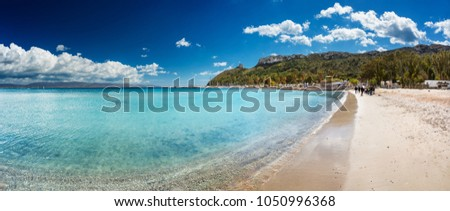 "Panoramic view of Poetto's Beach with ""Sella Del Diavolo"" promontory on background, in Cagliari, Sardinia #1050996368"