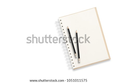 Notebook and pencil on white background. Abstract background for painting, drawing and sketching. #1051011575