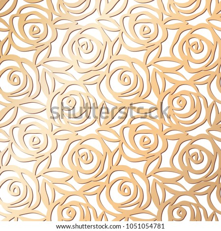 Ornamental rose floral golden pattern. Pink gold seamless texture. Roses with leaves background. Vector illustration.