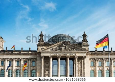 BERLIN, GERMANY- March 11, 2018 : German flag in Berlin, Germany #1051069355