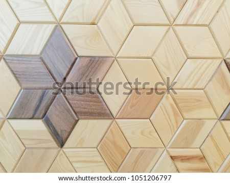 Abstract decorative wooden textured geometric mosaic background pattern. #1051206797