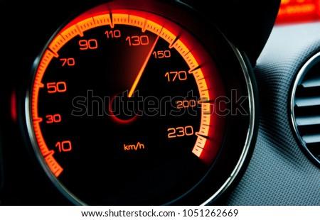 red iluminated speedometer Royalty-Free Stock Photo #1051262669
