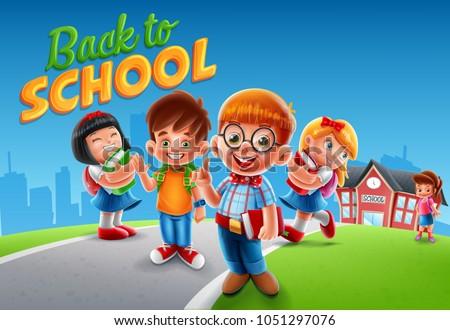 kids cartoon illustration with school