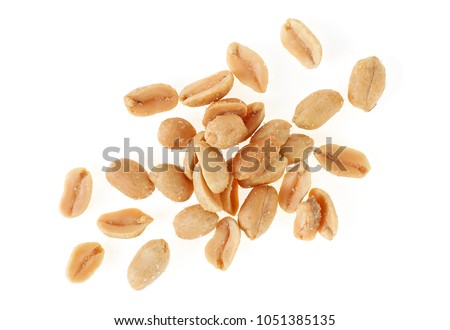 Roasted salted peanuts isolated on a white background, top view #1051385135
